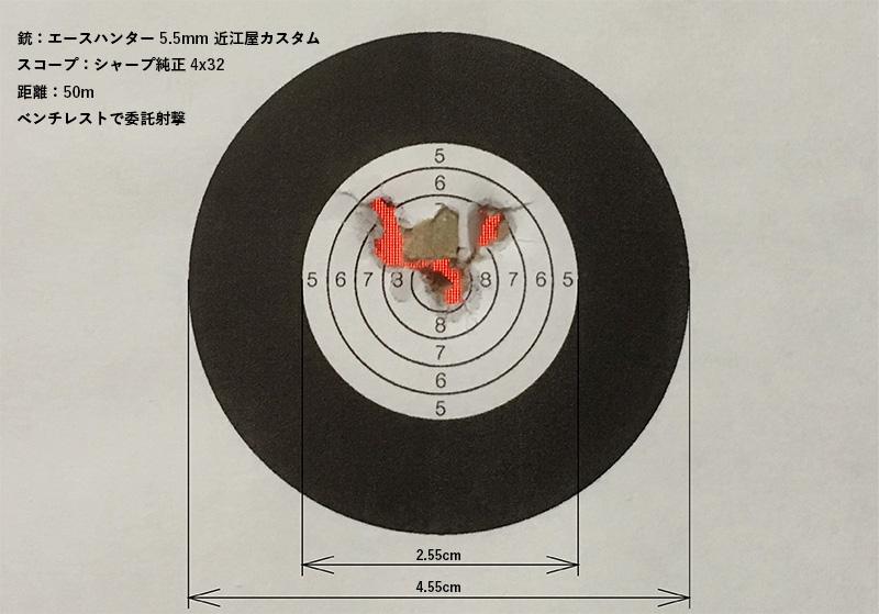 エースハンター5.5mm 近江屋カスタムで標的距離50mを委託射撃で5発