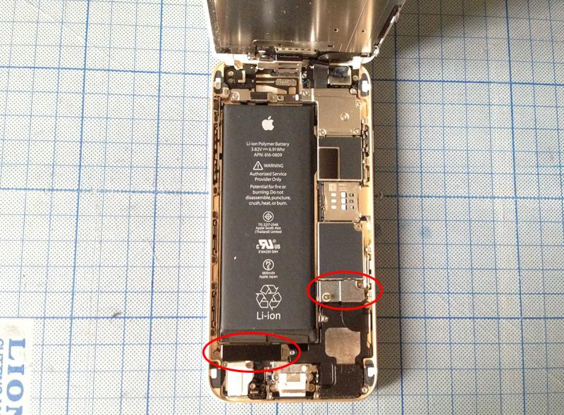 液晶パネルを開いたiPhone 6